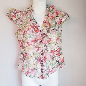 Anthropologie odille 100% silk floral blouse
